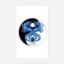Yin Yang Dragons Blue Rectangle Decal