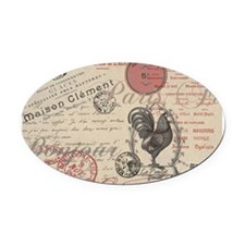 Vintage French Handwriting Paris Rooster Oval Car