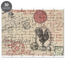 Vintage French Handwriting Paris Rooster Puzzle