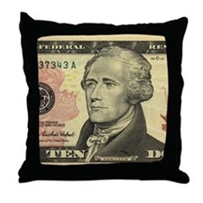 $10 Alexander Hamilton Portrait Throw Pillow