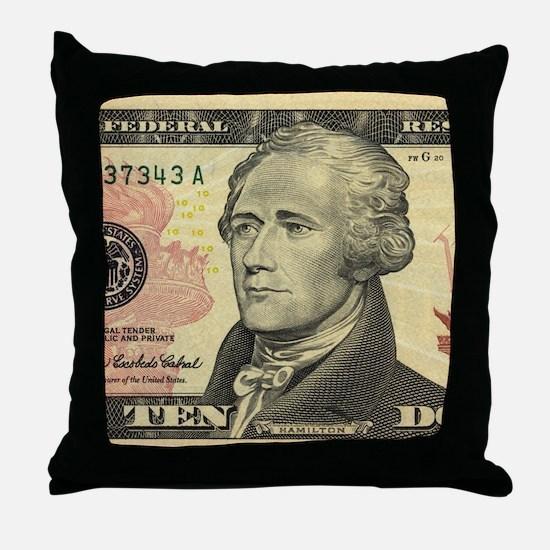 $10 Alexander Hamilton Portrait Throw Pillow