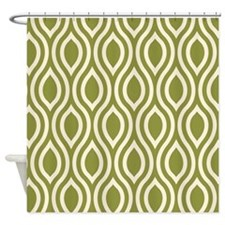 Ogee Pattern Olive Cream Shower Curtain