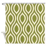 Ogee Olive Green Retro Shower Curtain