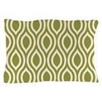 Ogee Olive Green Retro Pillow Case
