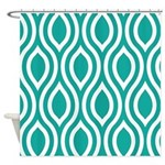 Ogee Teal Retro Shower Curtain
