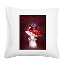 Mushroom Fairy Cat Square Canvas Pillow