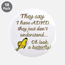 """ADHD Butterfly 3.5"""" Button (10 pack)"""