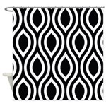 Ogee Retro Black and white Shower Curtain