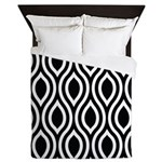 Ogee Retro Black and white Queen Duvet