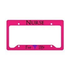 Pink Nurse For Life License Plate Holder