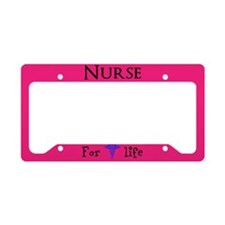 Pink Nurse For Life License Plate Holder