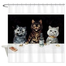 Bachelor Party Cats; Vintage Poster Shower Curtain