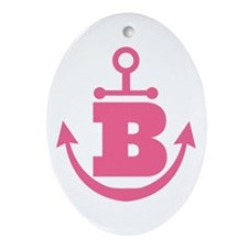Cute Anchor Monogram B Ornament (Oval)