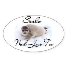 Seals Need Love Oval Decal