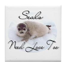 Seals Need Love Tile Coaster