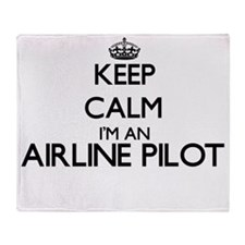 Keep calm I'm an Airline Pilot Throw Blanket
