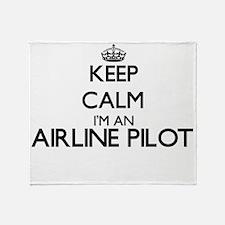 Keep calm I'm an Airline Pilot Throw Blanket