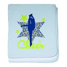 Blue and Green Cheerleader baby blanket