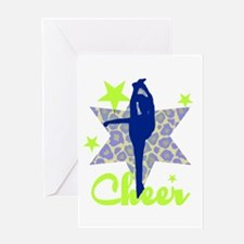 Blue and Green Cheerleader Greeting Cards
