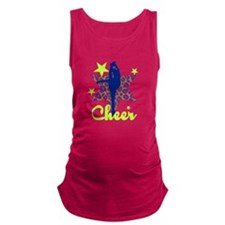 Blue and Green Cheerleader Maternity Tank Top