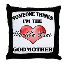World's Best Godmother (Heart) Throw Pillow