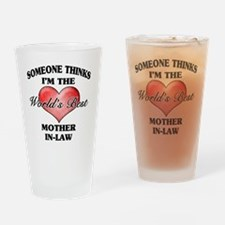 World's Best Mother-In-Law (Heart) Drinking Glass