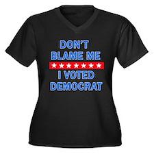 DONT BLAME M Women's Plus Size V-Neck Dark T-Shirt