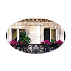 Windows Of Paris-Railing 35x21 Oval Wall Decal