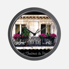 Windows Of Paris-Railing Wall Clock
