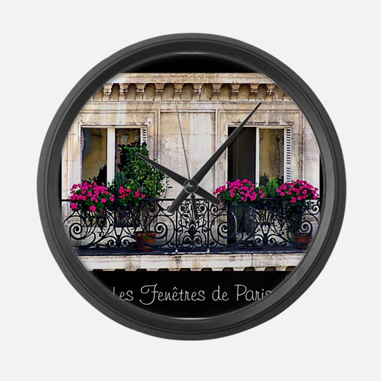 Windows Of Paris-Railing Large Wall Clock