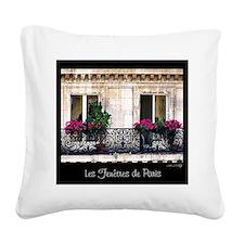 Windows Of Paris-Railing Square Canvas Pillow