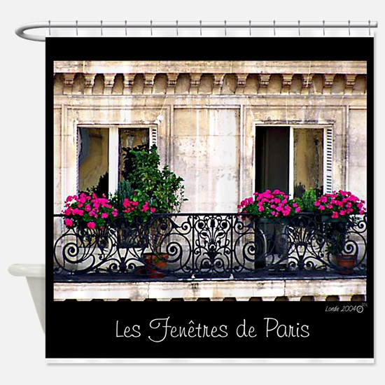 Windows Of Paris-Railing Shower Curtain