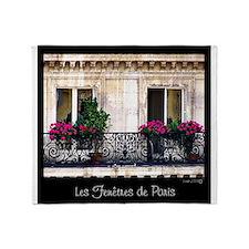 Windows Of Paris-Railing Throw Blanket