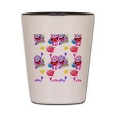 A seamless template with monsters Shot Glass
