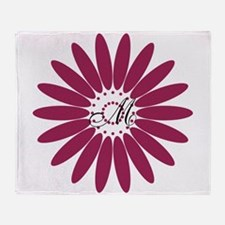 Cute Floral Monogram Throw Blanket