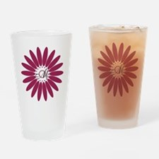 Cute Floral Monogram Drinking Glass
