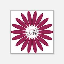 "Cute Floral Monogram Square Sticker 3"" x 3"""