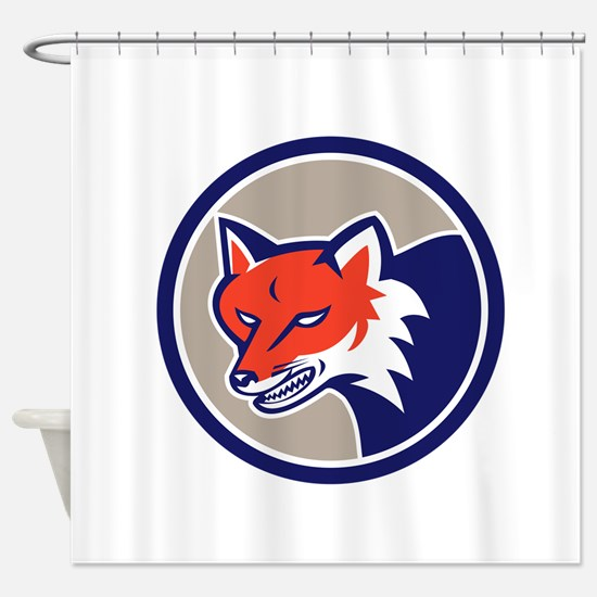 Red Fox Head Angry Circle Retro Shower Curtain