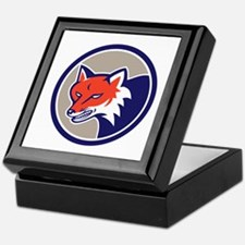 Red Fox Head Angry Circle Retro Keepsake Box