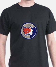 Red Fox Head Angry Circle Retro T-Shirt