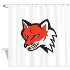 Red Fox Angry Head Retro Shower Curtain