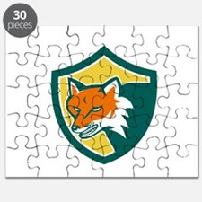 Red Fox Angry Head Shield Retro Puzzle