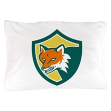 Red Fox Angry Head Shield Retro Pillow Case