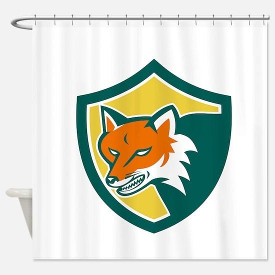 Red Fox Angry Head Shield Retro Shower Curtain