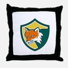 Red Fox Angry Head Shield Retro Throw Pillow