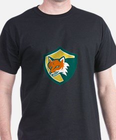 Red Fox Angry Head Shield Retro T-Shirt