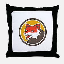 Red Fox Head Growling Circle Retro Throw Pillow