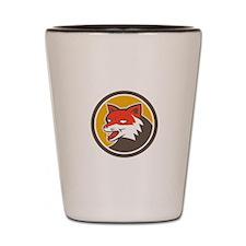 Red Fox Head Growling Circle Retro Shot Glass