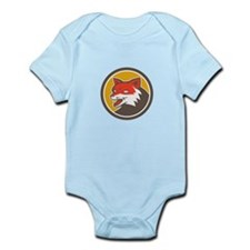 Red Fox Head Growling Circle Retro Body Suit