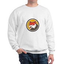 Red Fox Head Growling Circle Retro Sweatshirt
